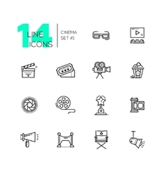 Cinema and movie line icons set vector