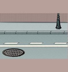 City street with sidewalk and manhole vector