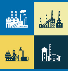 Digital blue yellow factory pollution vector