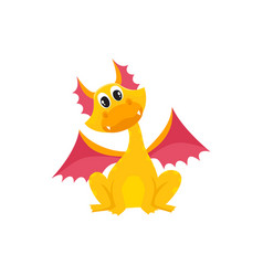 Flat cartoon dragon kid with horns wings vector