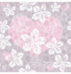 Gentle gray seamless valentine pattern vector