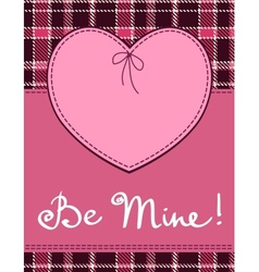 Heart in stitched textile style pink heart textile vector image