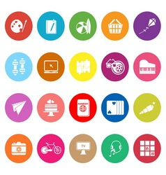 Hobby flat icons on white background vector image vector image