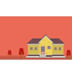 Landscape of yellow house flat vector