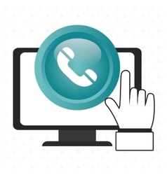 laptop telephone hand icon vector image