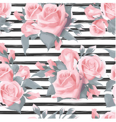 Navy striped print with bouquets of rose flowers vector