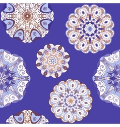 Oriental seamless pattern with circle ornaments vector