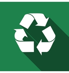 Recycle symbol icon with long shadow vector image
