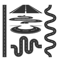 Roads and highways icons set vector