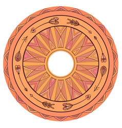 Round boho ornament native pattern vector