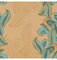 seamless pattern wave background beige and blue vector image vector image