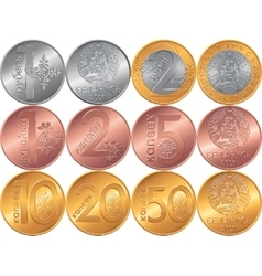 Set obverse and reverse new Belarusian Money coins vector image vector image