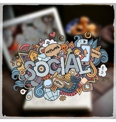 Social hand lettering and doodles elements and vector
