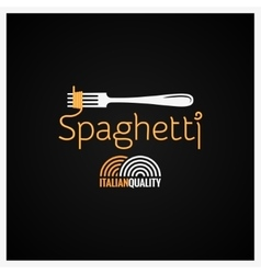 Spaghetti pasta on fork label background vector