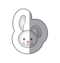 Sticker colorful picture face cute rabbit animal vector