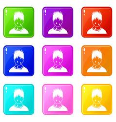 Sweaty man icons 9 set vector