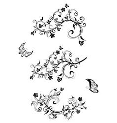 Three Floral Ornaments vector image vector image