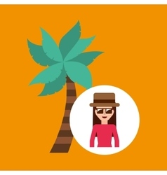 Toursit female hat sunglasses palm tree vector