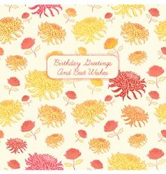 Vintage Birthday Floral Card vector image