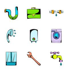 Washing icons set cartoon style vector
