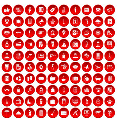 100 hotel services icons set red vector