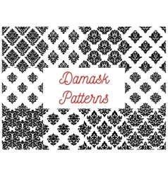 Damask seamless patterns with floral motif vector