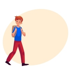School boy teenager walking going somewhere with vector image