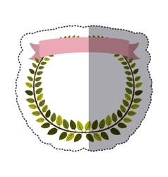 Sticker border of leaves with pink label vector