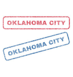 Oklahoma city textile stamps vector