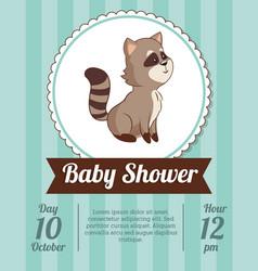 baby shower card invitation - raccoon decorative vector image