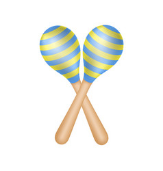 Pair of maracas in blue and yellow design vector