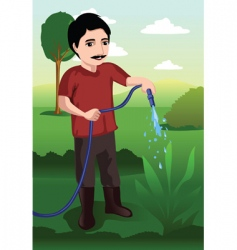 Watering the garden vector