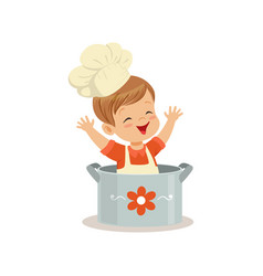 Cute little boy chef sitting in the pot vector