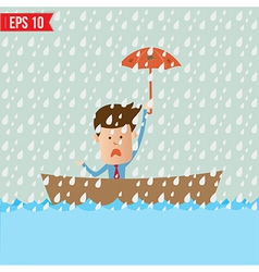 Business cartoon holding umbrella on boat for vector
