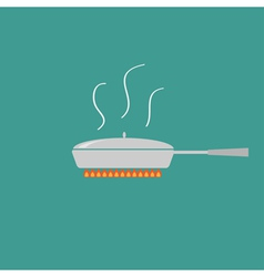 Pan with steam on fire coocing icon flat design st vector