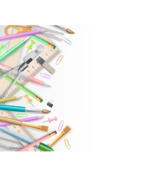 School supplies on white with copyspace EPS 10 vector image