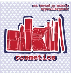 Set of cosmetics sticker vector