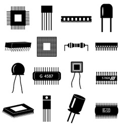 Electronic circuit parts icons set vector