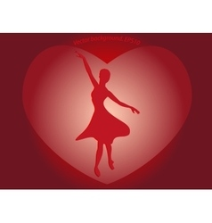 Dancing ballerina in a big red heart in the form vector