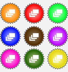 Layers icon sign a set of nine different colored vector