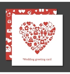 Wedding greeting card and seamless pattern vector