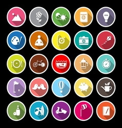 Slow life activity flat icons with long shadow vector