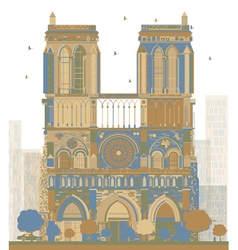 Notre dame cathedral - paris vector