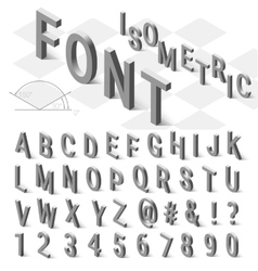 Isometric font alphabet with drop shadow on white vector