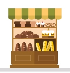 Bakery shop stall with bakery products vector