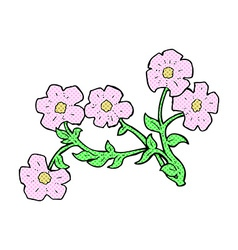 Comic cartoon flowers vector