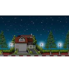 House by the road at night vector
