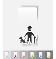 Realistic design element old man and dog vector