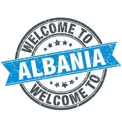 Welcome to albania blue round vintage stamp vector