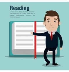 Reading books design vector